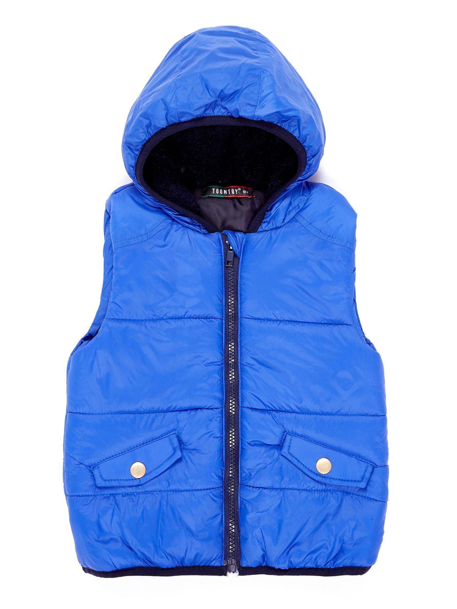 Dívčí kobaltová vesta s kapucí