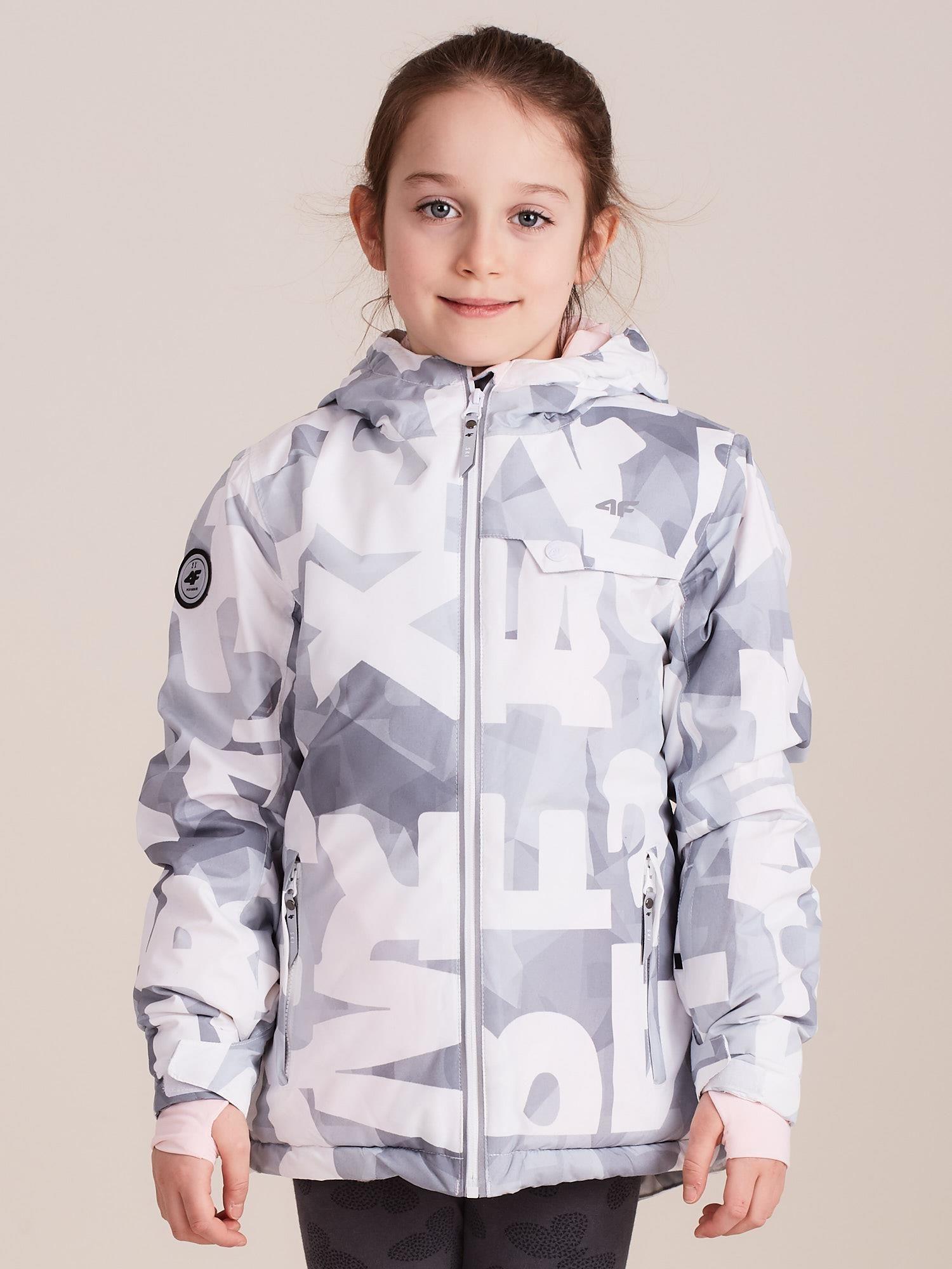 Dívčí lyžařská bunda se vzory 4F