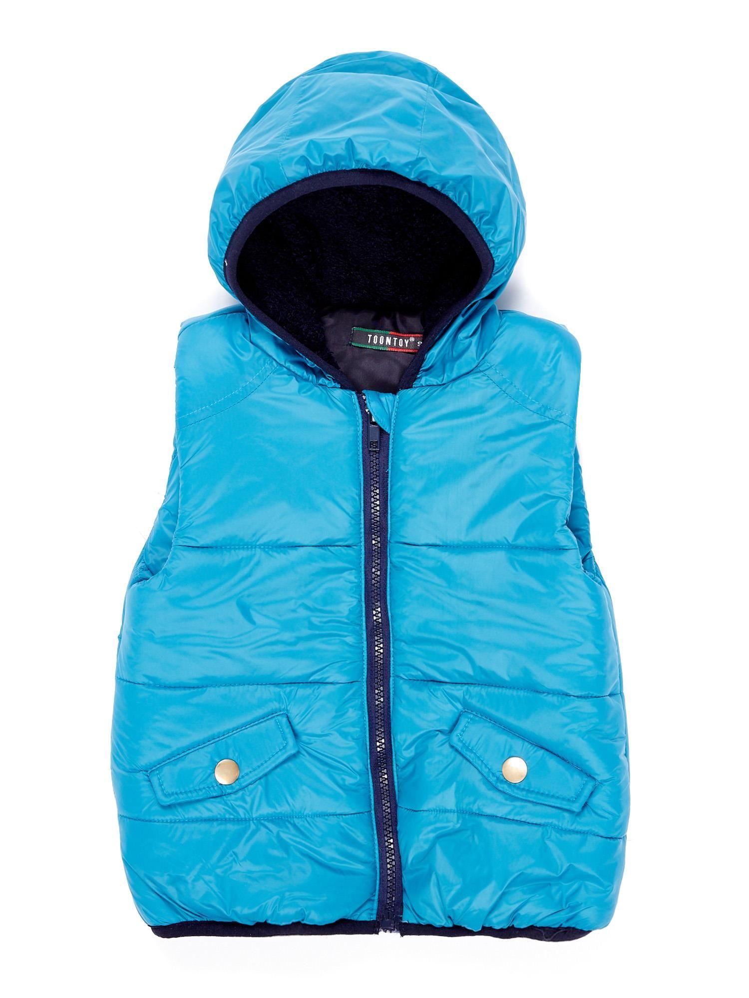 Dívčí modrá vesta s kapucí