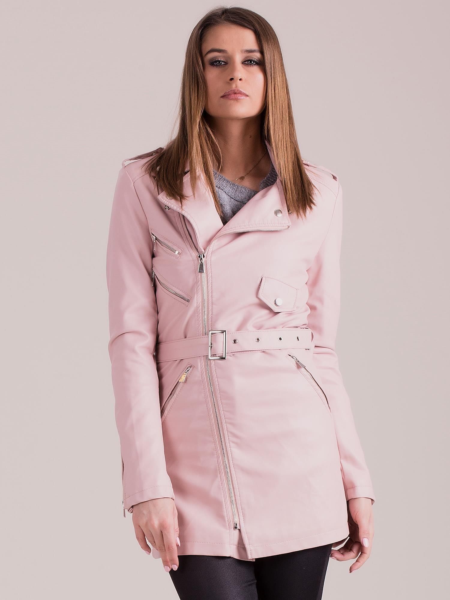 Světle růžová bunda z umělé kůže