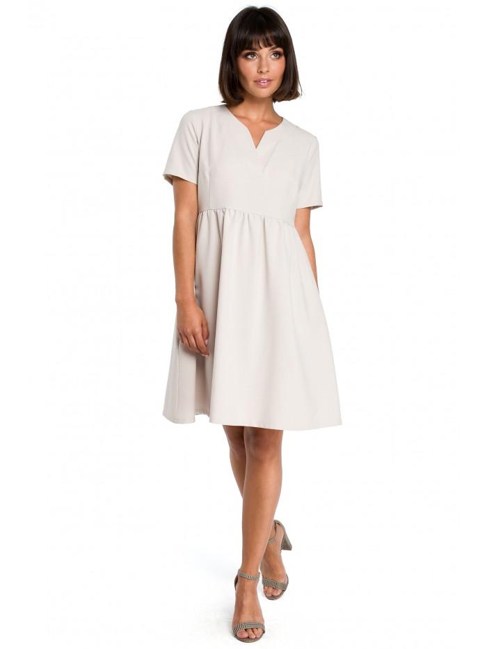 B081 Mini šaty s vysokým pasem a vrubovým výstřihem