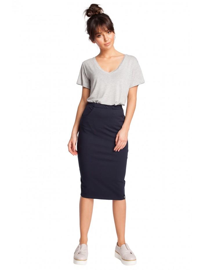 B019 Tužková sukně s pružným pasem a bočními kapsami
