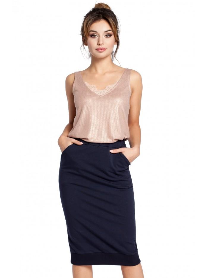 B031 Pletená tužková sukně s žebrovaným lemem lemu