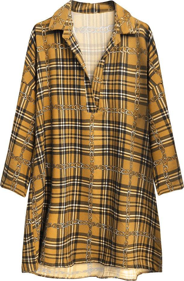 Károvaná oversize košile v hořčicové barvě (302ART)