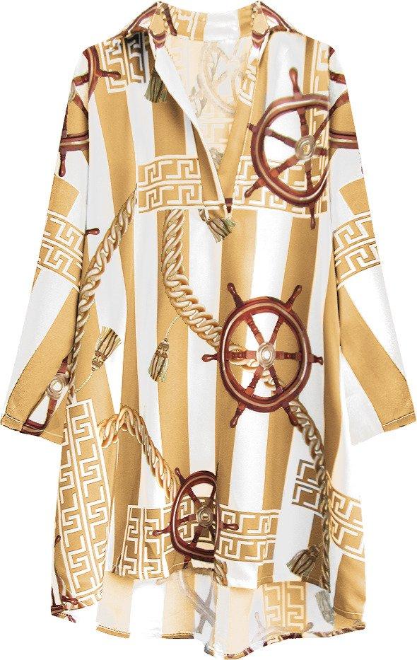 Bílo-karamelová oversize košile se vzory (301ART)