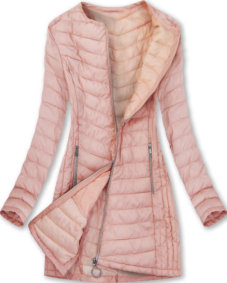 Dlouhá lososová dámská bunda (21809)