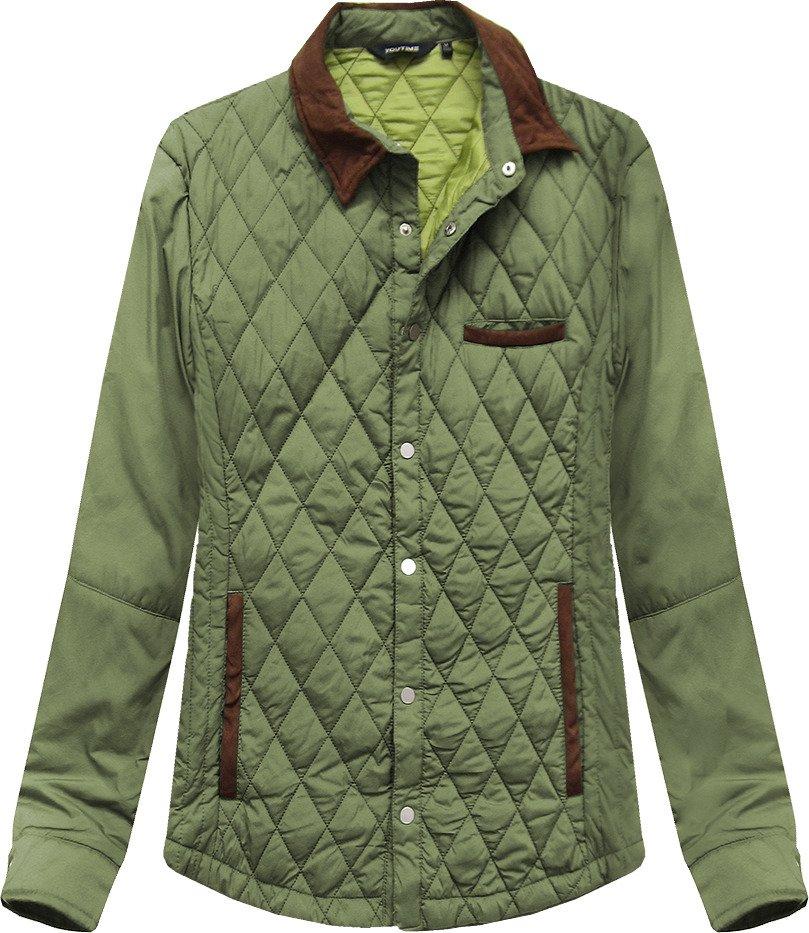 Prošívaná bunda v olivové barvě s límcem (25004LJ)