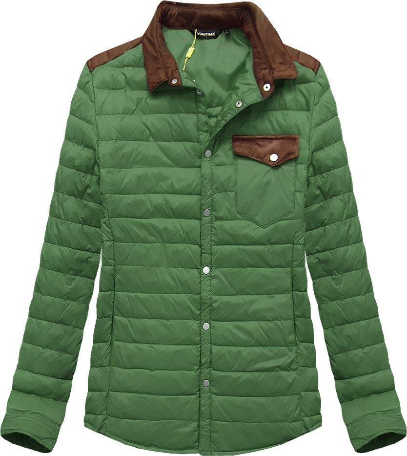 Zelená prošívaná bunda s límcem (X69LJX)