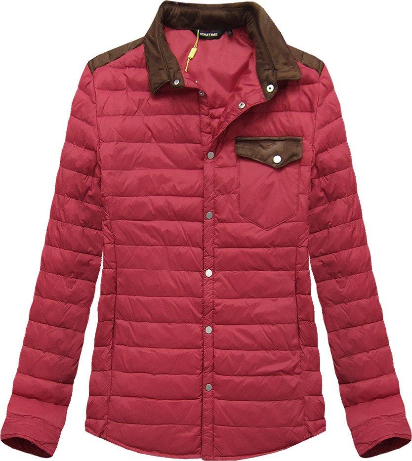 Červená prošívaná bunda s límcem (X69LJX)