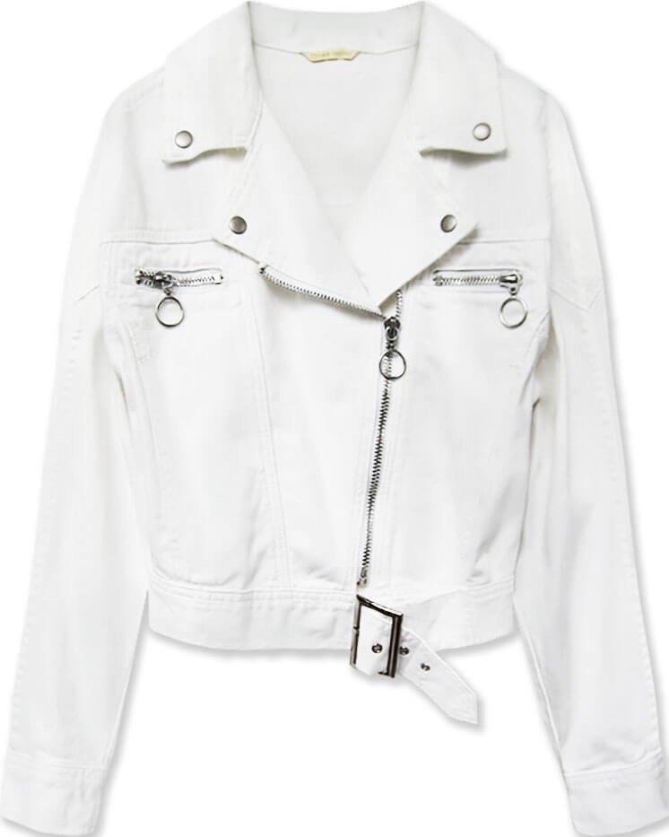 Krátká bílá dámská džínová bunda s límcem (H115)