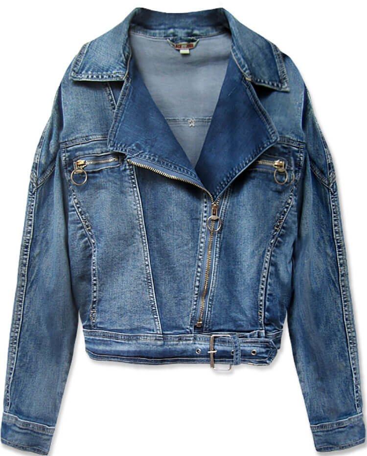 Světle modrá krátká dámská džínová oversize bunda (055-1)