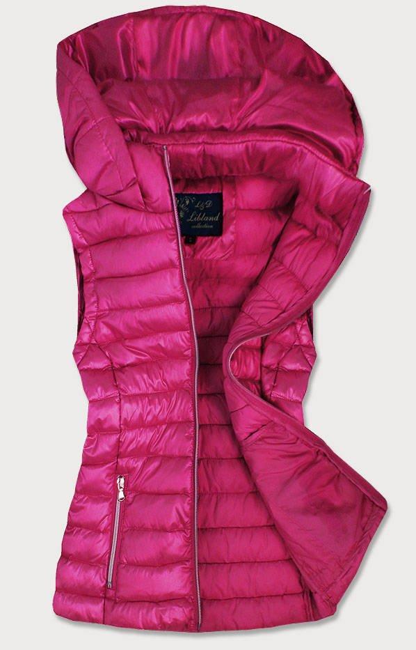 Růžová prošívaná lesklá dámská vesta (7000)