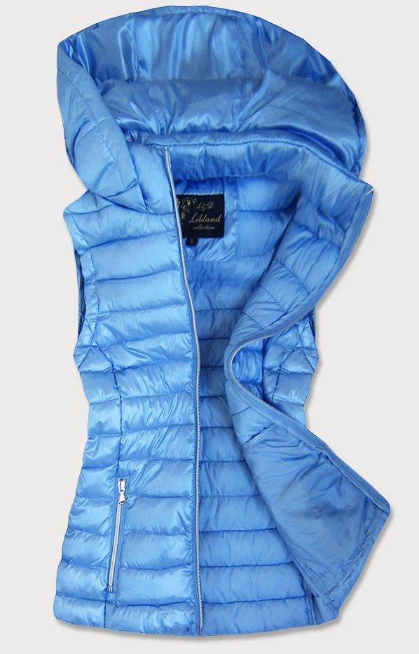 Světle modrá prošívaná lesklá dámská vesta (7000)