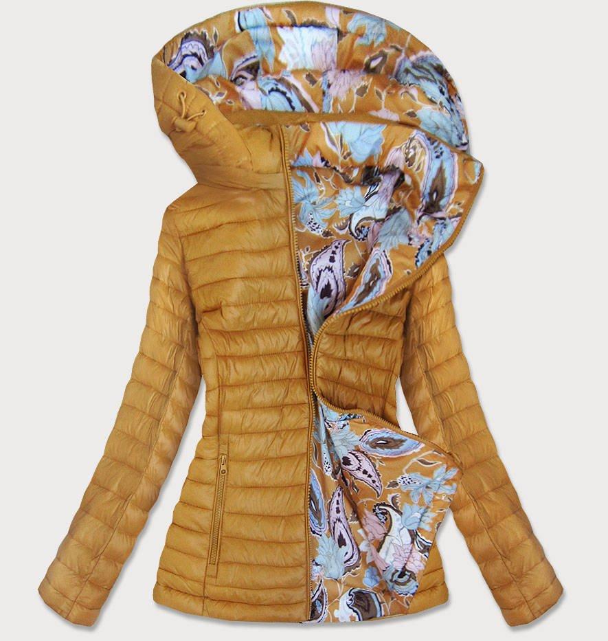 Oboustranná dámská bunda v hořčicové barvě (7174)