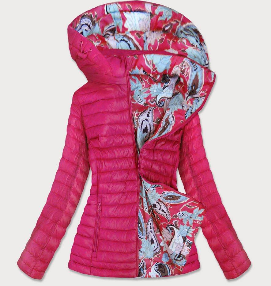 Růžová oboustranná dámská bunda (7174)