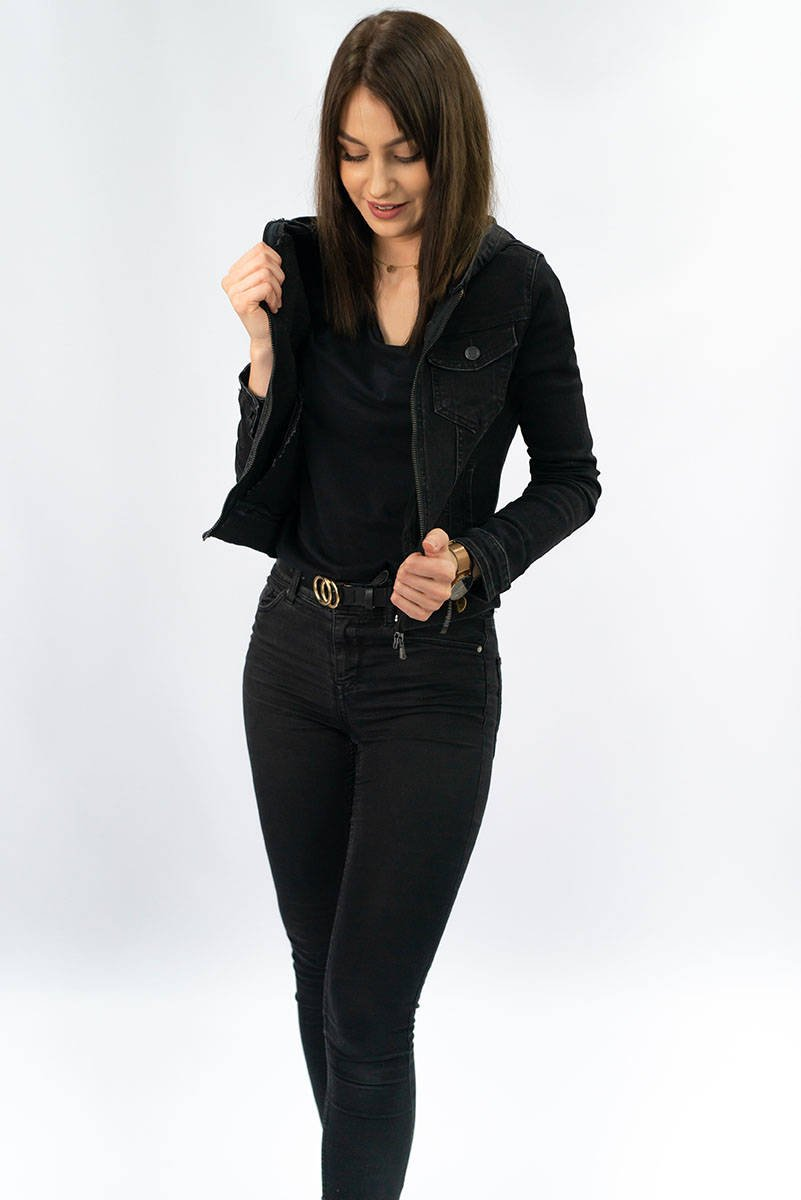 Černá dámská džínová bunda (5651-K)