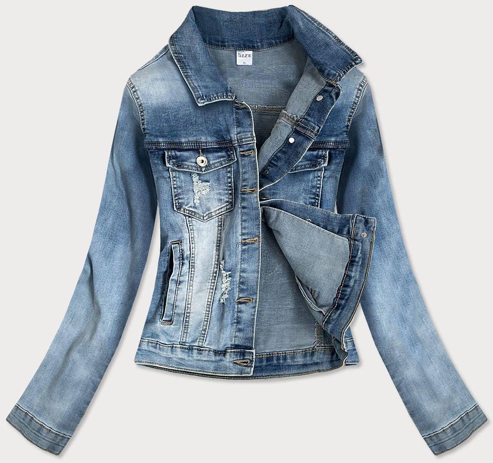 Světle modrá krátká dámská džínová bunda se zirkony (GD6657-K)