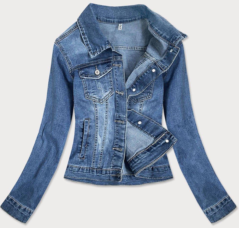 Světle modrá krátká dámská džínová bunda (X-758)