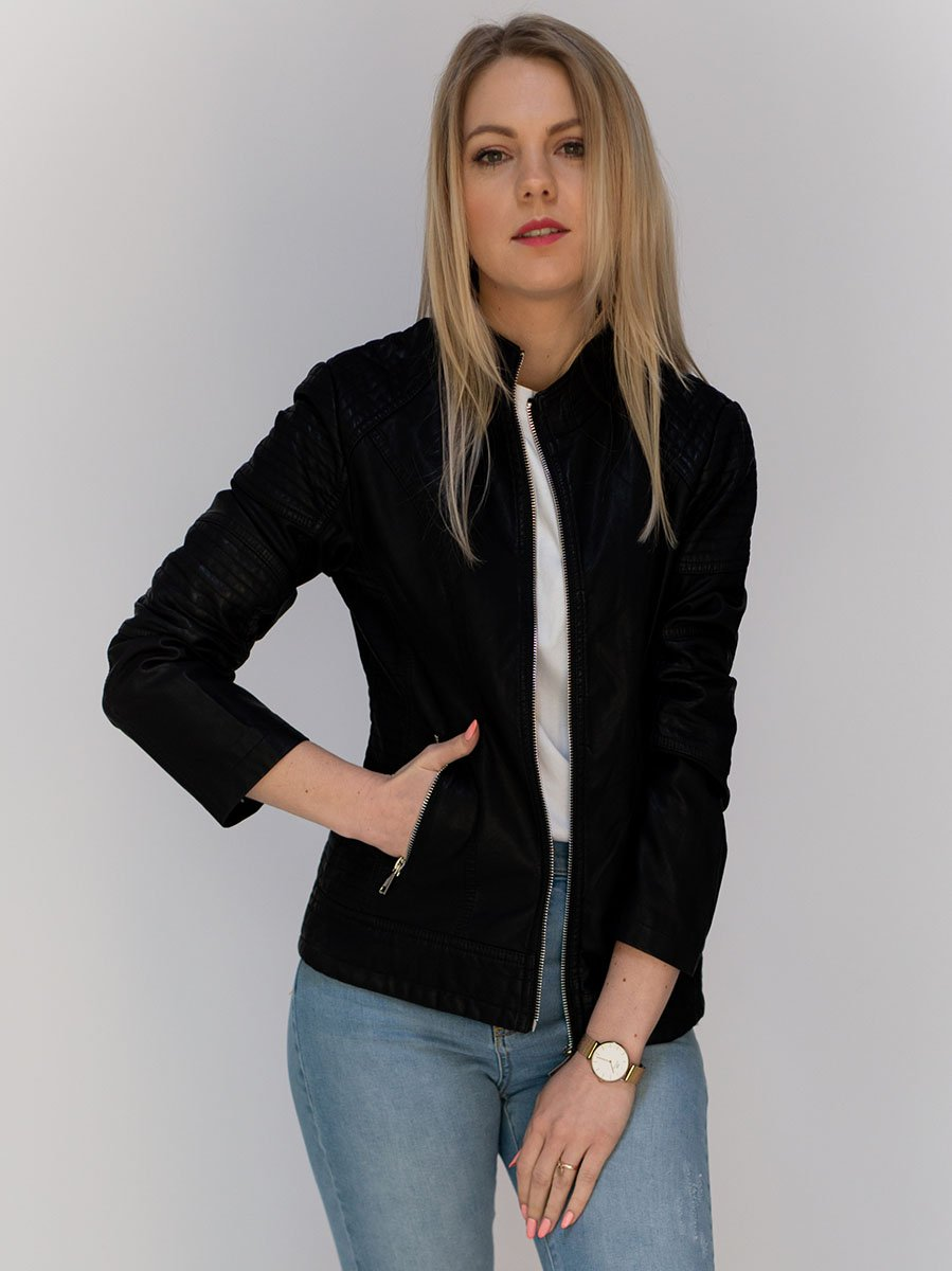 Černá dámská koženková bunda (TD113)