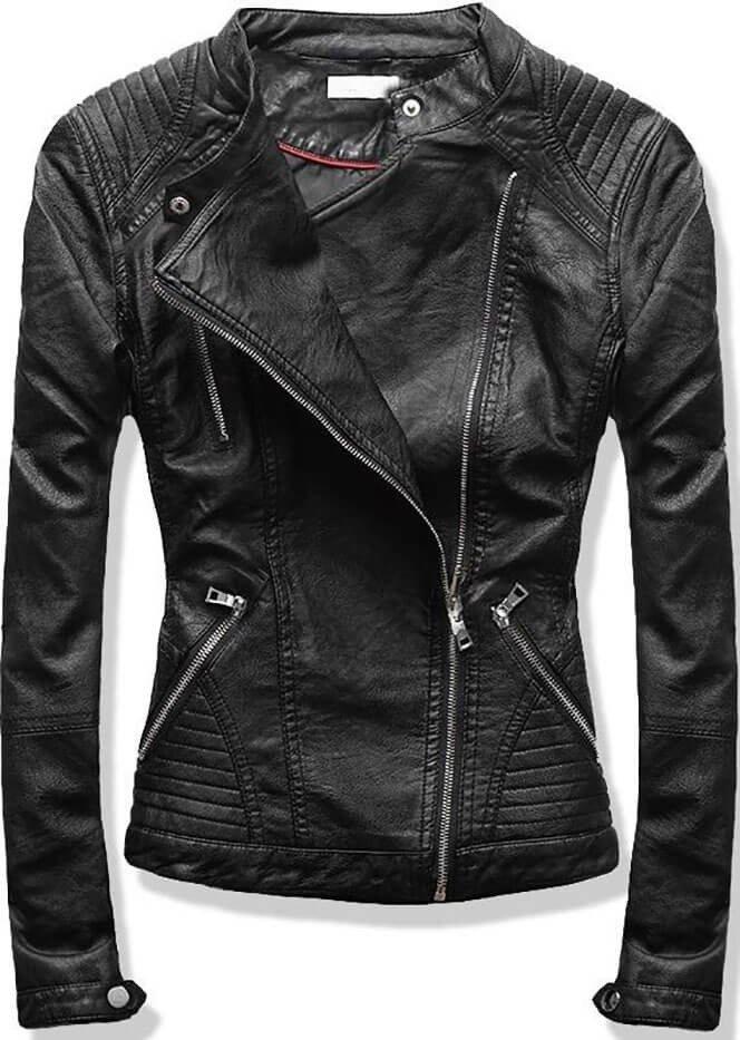 Černá dámská koženková bunda (TD135)