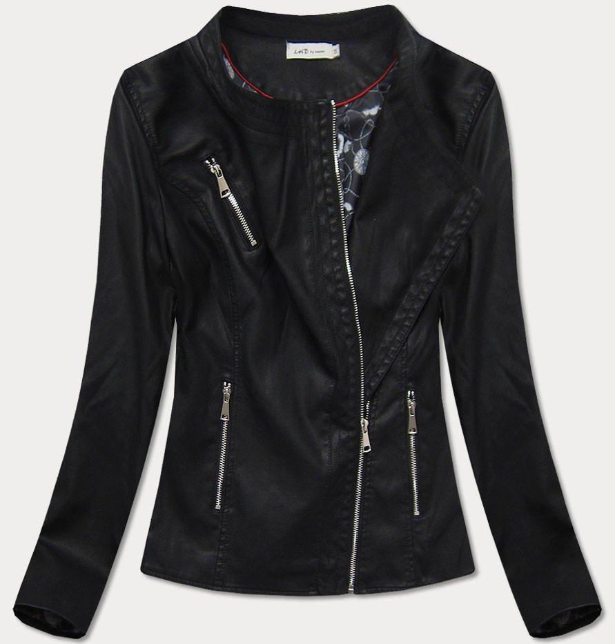 Černá dámská koženková bunda (TD813)