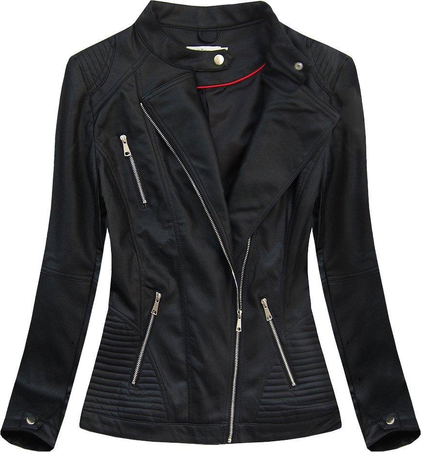 Černá dámská koženková bunda (TD1356)