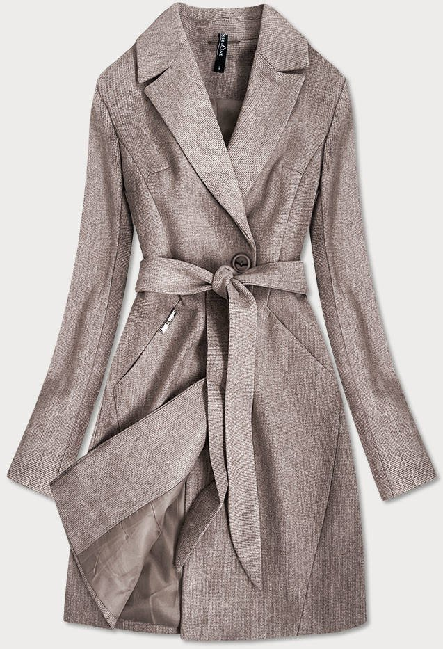 Hnědý dámský kabát s drobným károvaným vzorem (2706)
