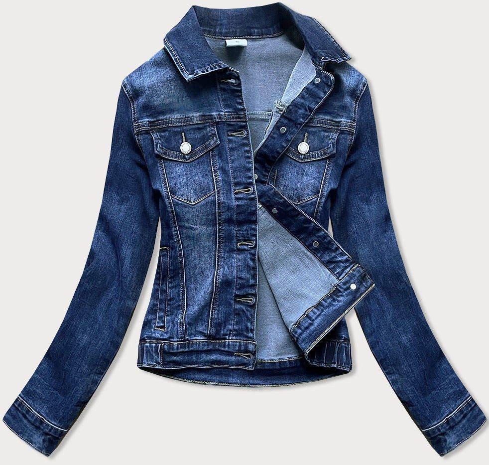 Klasická tmavě modrá dámská džínová bunda (5693)