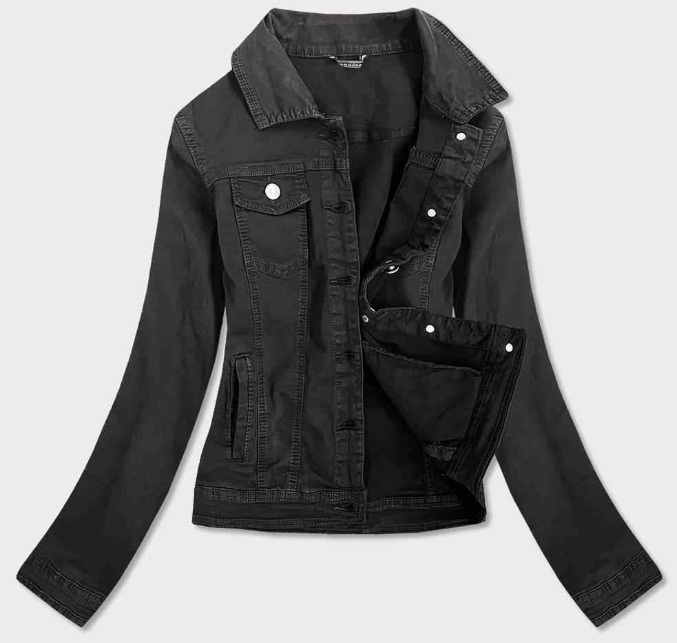 Vypasovaná černá dámská džínová bunda (F2331)