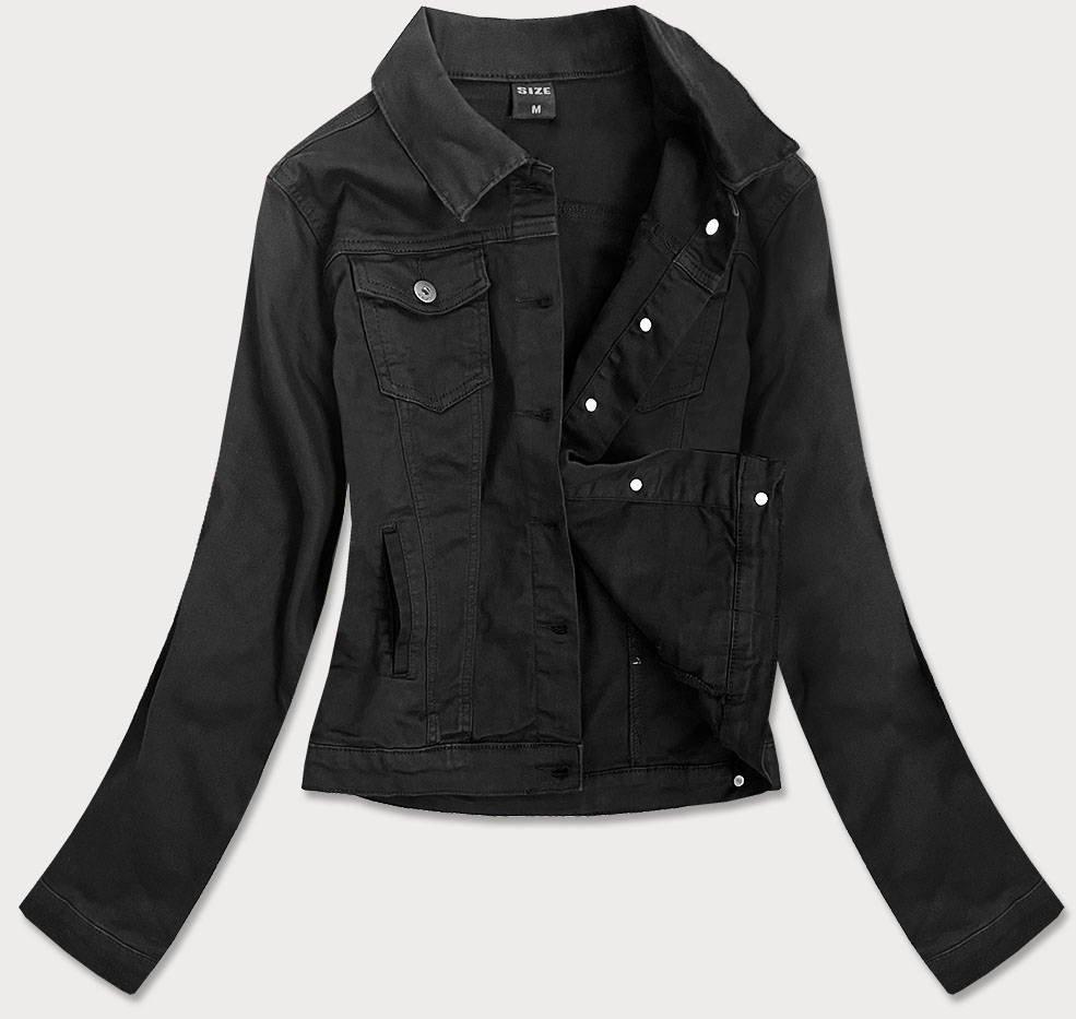 Jednoduchá černá dámská džínová bunda s kapsami (SA40)