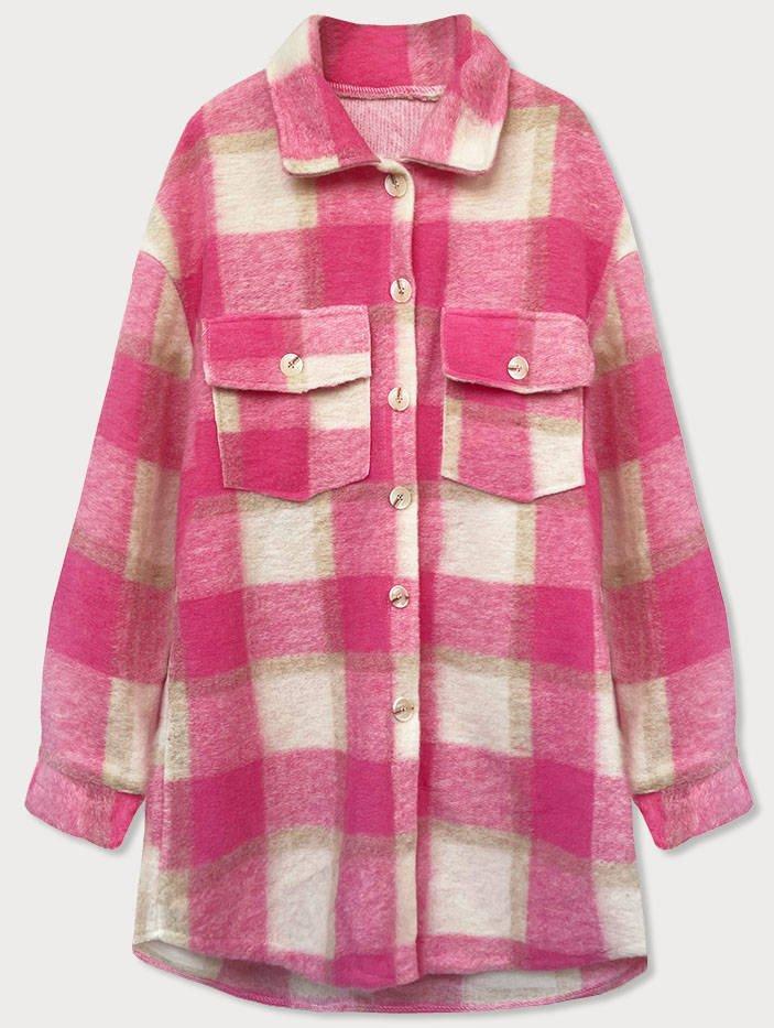 Růžový dámský károvaný košilový kabát (2431)