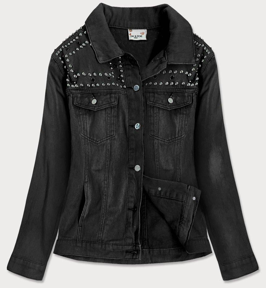 Černá dámská džínová bunda s ozdobnými kamíny a třásněmi (A8306)