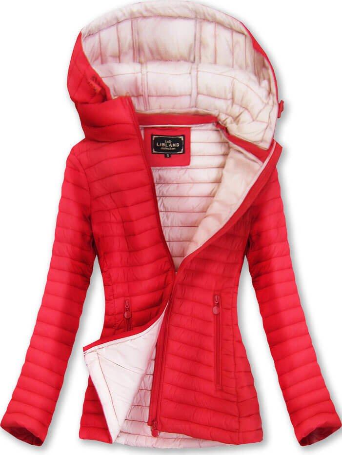 Červená prošívaná bunda s kapucí (7218BIG)