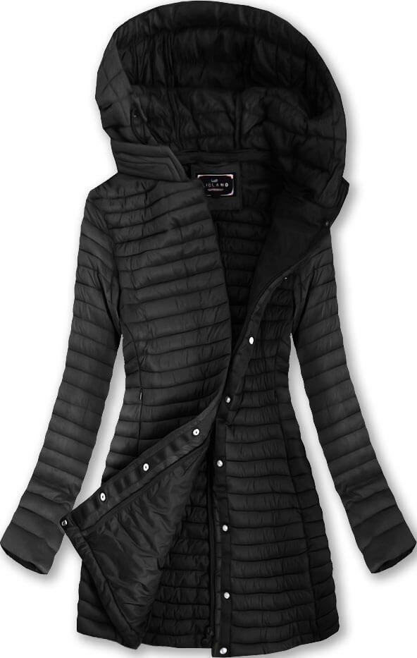 Delší černá prošívaná bunda s kapucí (7222)