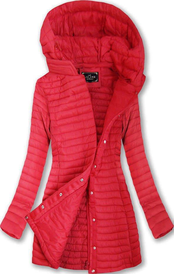 Delší červená prošívaná bunda s kapucí (7222)