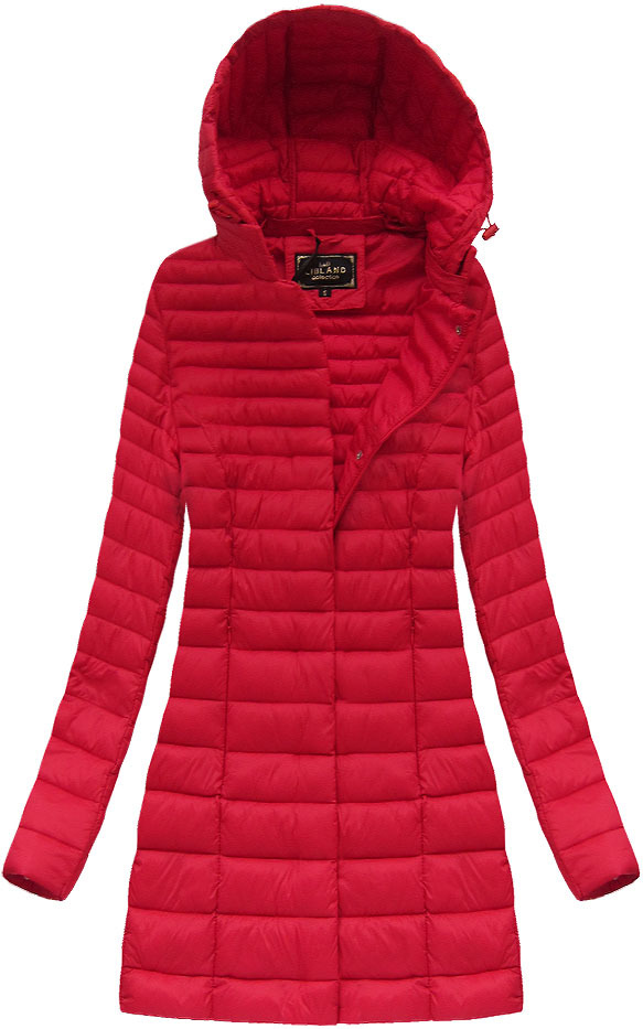 Delší červená prošívaná bunda s kapucí (7240)