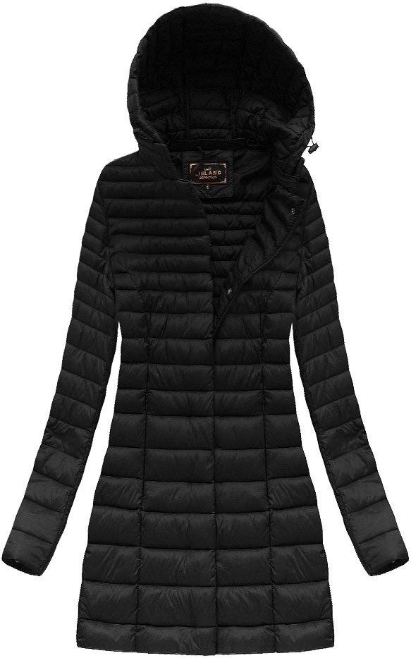 Černá delší prošívaná bunda s kapucí (7240)