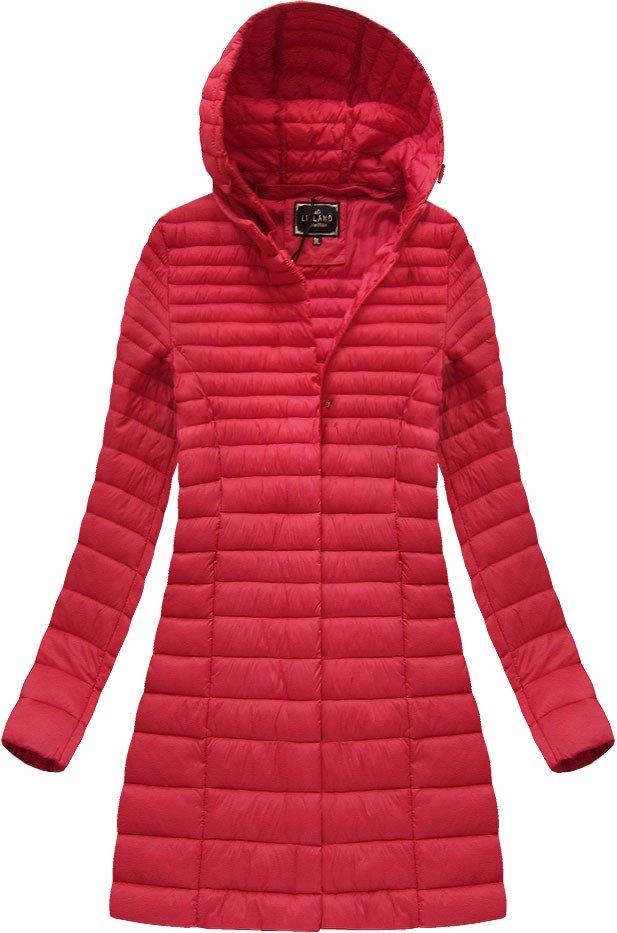 Delší červená prošívaná bunda s kapucí (7240BIG)