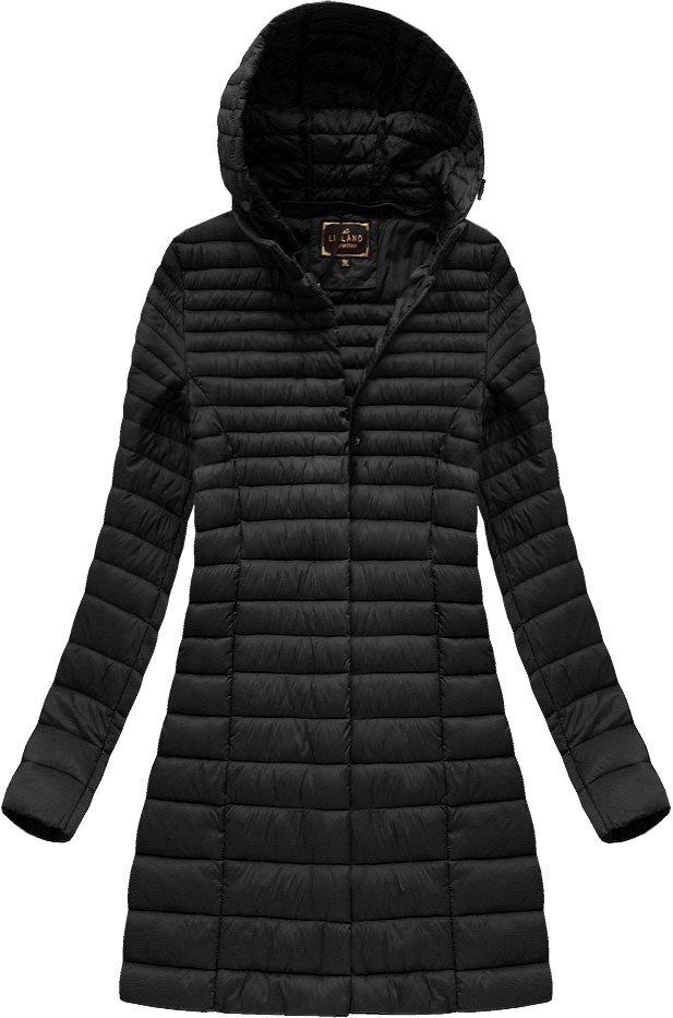 Delší černá prošívaná bunda s kapucí (7240BIG)