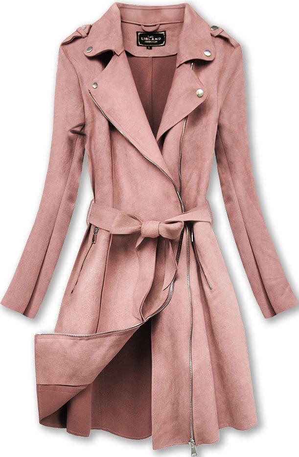 Semišový kabát ve starorůžové barvě (6004)