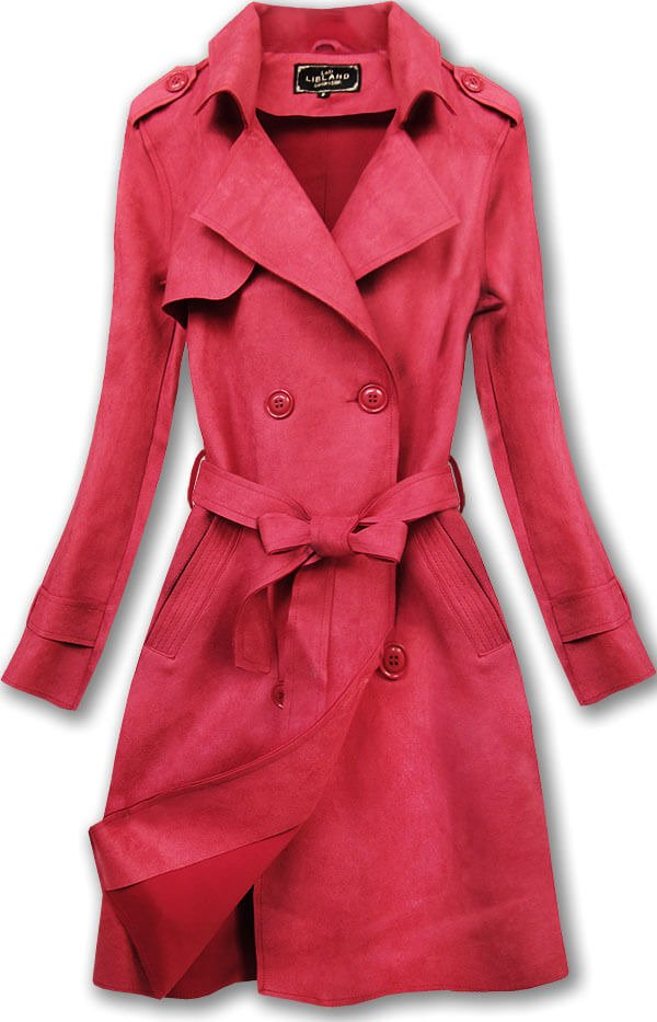 Červený dvouřadový semišový kabát (6003)