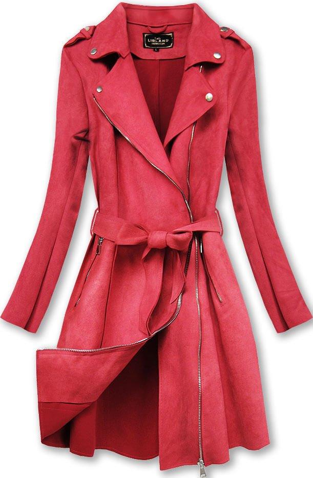Červený semišový kabát (6004)