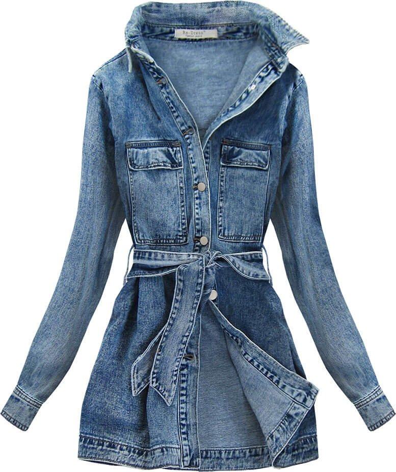 Dlouhá dámská džínová bunda s límcem a páskem (C131)