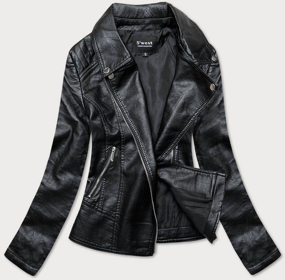 Černá bunda ramoneska z imitace kůže (B17)
