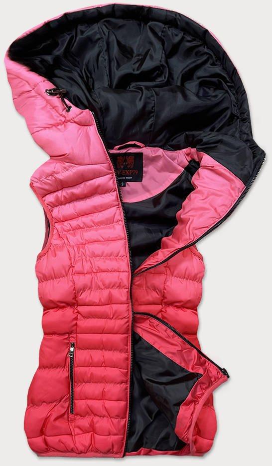 Růžová prošívaná dámská vesta (HV-1512)