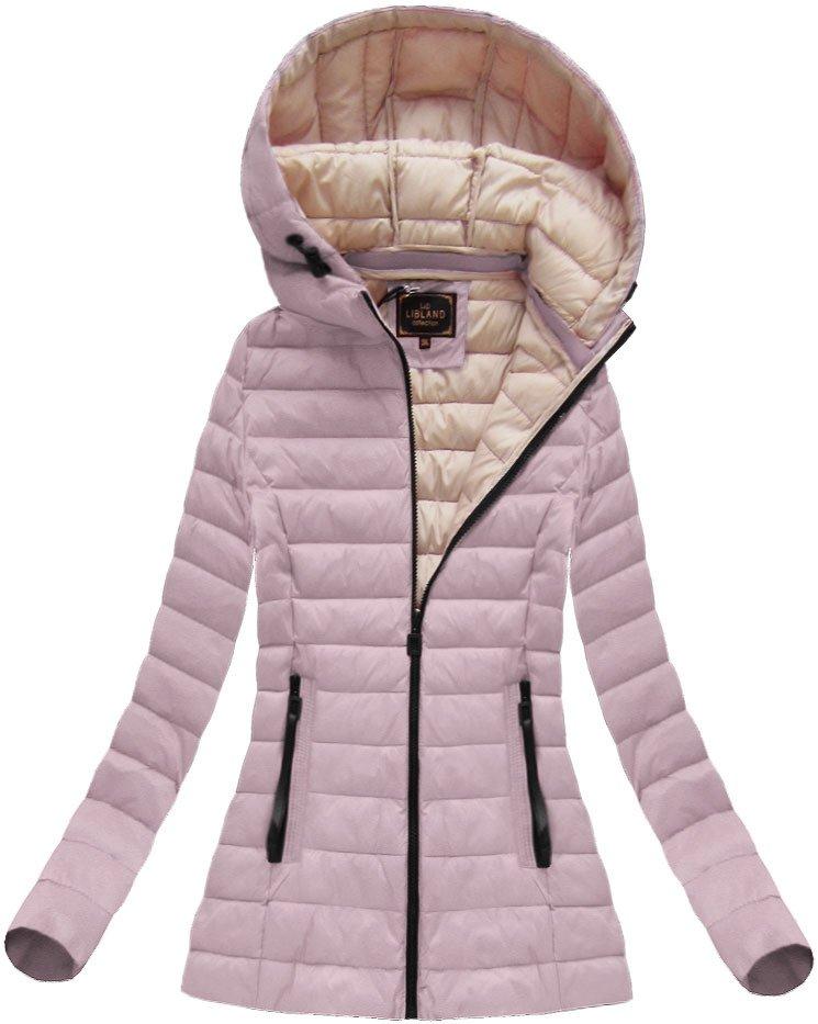 Anticky růžová dámská bunda s kapucí (7213)