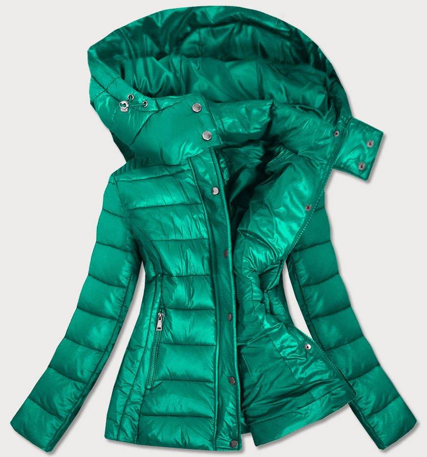 Zelená dámská prošívaná bunda s kapucí, kterou je možné odepnout (7560)