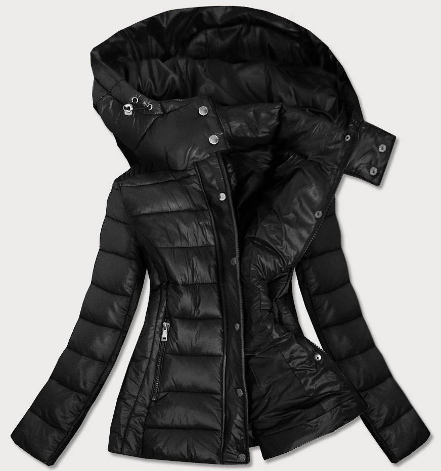 Černá dámská prošívaná bunda s kapucí, kterou je možné odepnout (7560)
