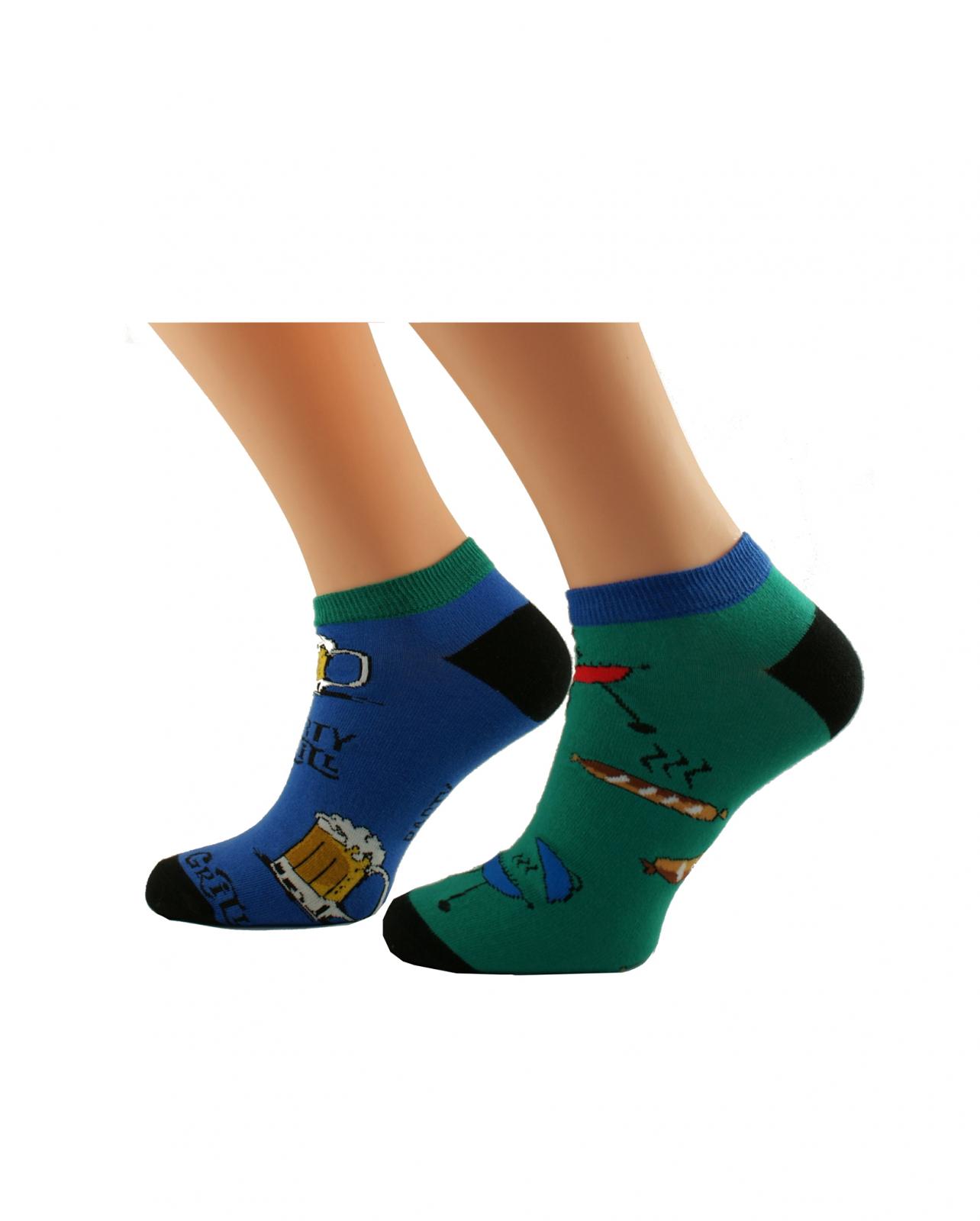 Pánské nepárové kotníkové ponožky Bratex Popsox 4479