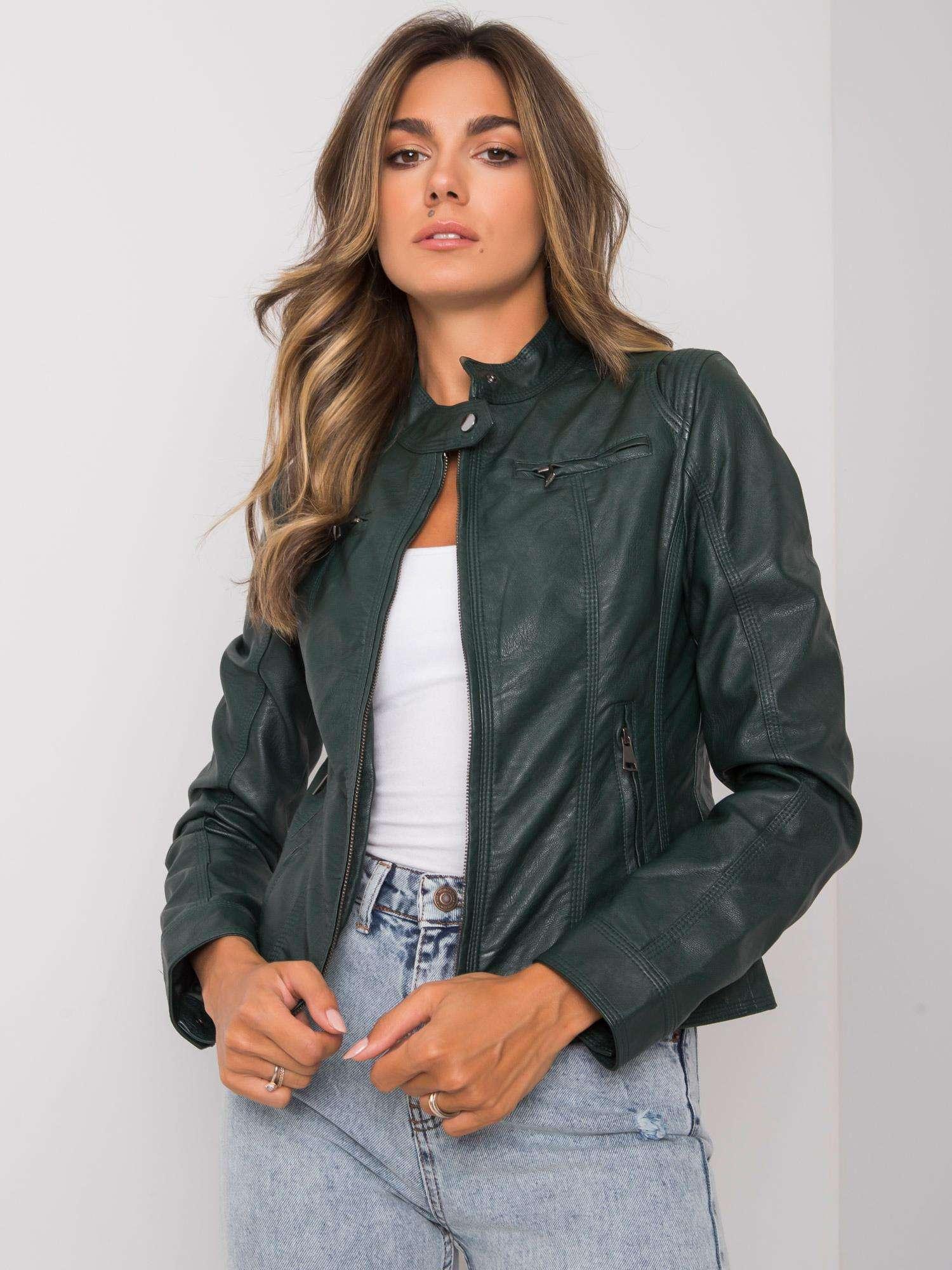 Tmavě zelená bunda z umělé kůže